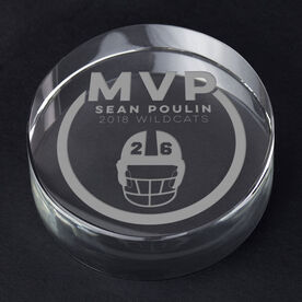 Football Personalized Engraved Crystal Gift - MVP Award