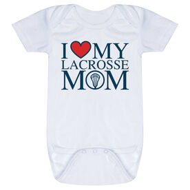 Guys Lacrosse Baby One-Piece - I Love My Lacrosse Mom