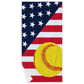 Softball Premium Beach Towel - Softball USA Flag