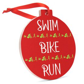 Triathlon Round Ceramic Ornament - Swim Bike Run
