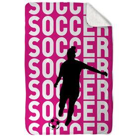 Soccer Sherpa Fleece Blanket - Soccer Girl Silhouette with Words