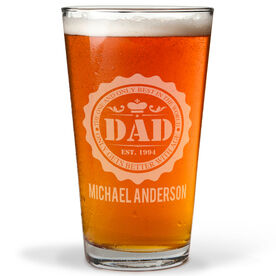 Personalized 16 oz. Beer Pint Glass - Dad Bottle Cap