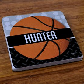 Basketball Stone Coaster Personalized 2 Tier Patterns with Basketball