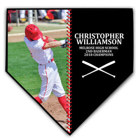 Baseball Home Plate Plaque - Player Photo Stitch