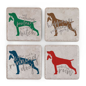 Running Stone Coaster Set of 4 - Dog With Sneaker