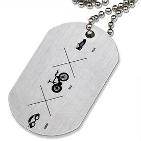 Swim X Bike X Run Printed Dog Tag Necklace