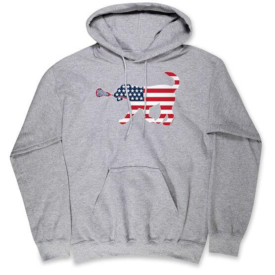 Girls Lacrosse Hooded Sweatshirt - Patriotic LuLa the Lax Dog