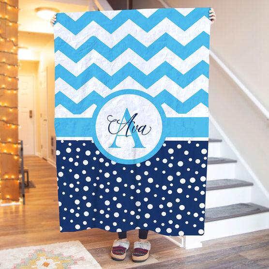 Personalized Premium Blanket - Chevron Monogram with Dots