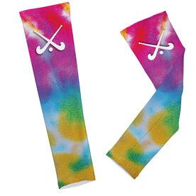 Field Hockey Printed Arm Sleeves Tie Dye Pattern with Field Hockey Sticks