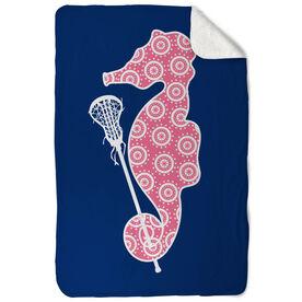 Girls Lacrosse Sherpa Fleece Blanket - Lax Seahorse