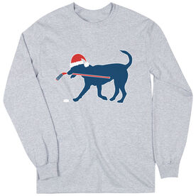 Hockey T-Shirt Long Sleeve Christmas Dog