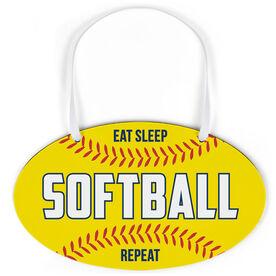 Softball Oval Sign - Eat Sleep Softball Repeat