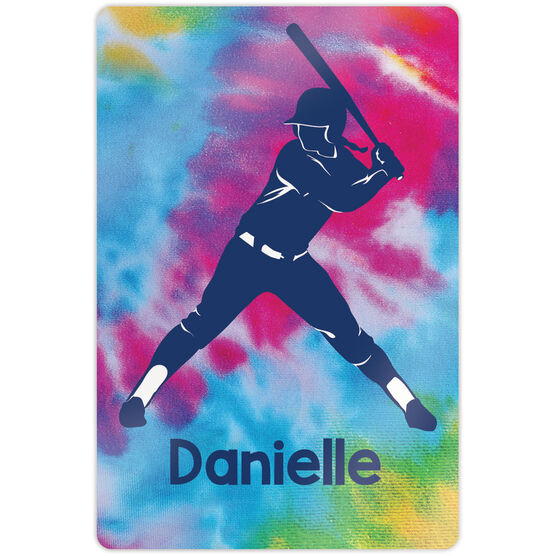 """Softball 18"""" X 12"""" Aluminum Room Sign - Personalized Batter With Tie-Dye"""