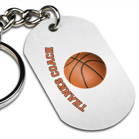 Thanks Coach Basketball Printed Dog Tag Keychain