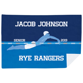 Swimming Premium Blanket - Personalized Swimming Guy Senior