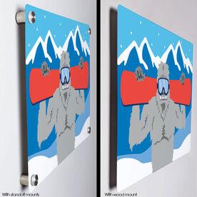 "Snowboarding 18"" X 12"" Aluminum Room Sign - Yeti"