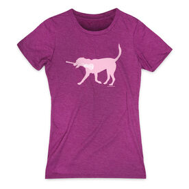 Girls Lacrosse Women's Everyday Tee - LuLa the Lax Dog (Pink)