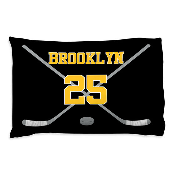 Hockey Pillowcase - Personalized Player Crossed Sticks