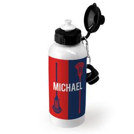 Guys Lacrosse 20 oz. Stainless Steel Water Bottle - Personalized Vertical Lacrosse Stick