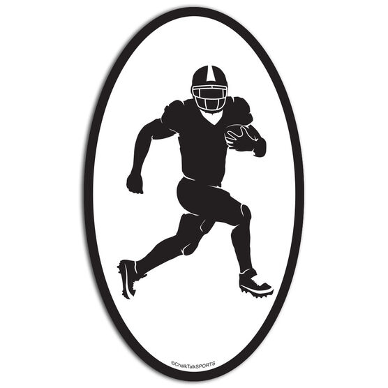 Football Running Back Oval Car Magnet