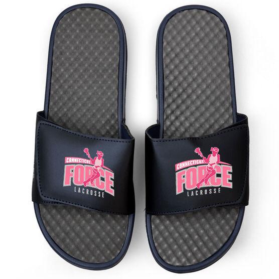 Girls Lacrosse Navy Slide Sandals - Your Logo
