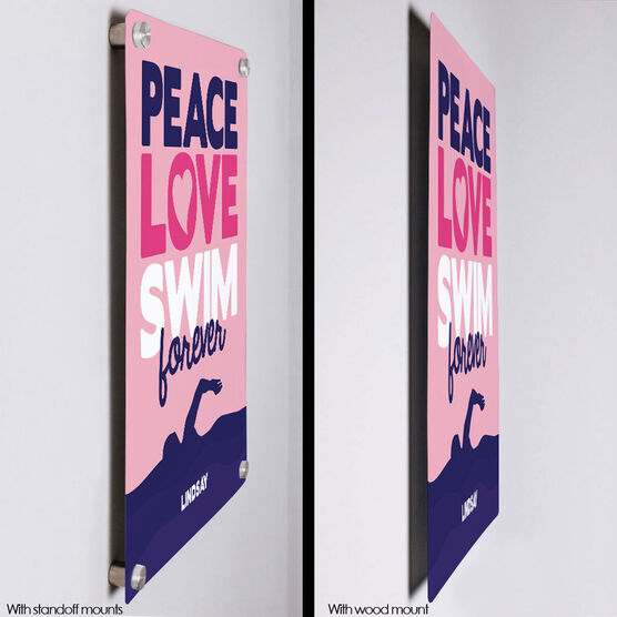 "Swimming 18"" X 12"" Aluminum Room Sign Peace Love Swim Forever"