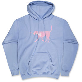 Girls Lacrosse Hooded Sweatshirt LuLa the Lax Dog (Pink)