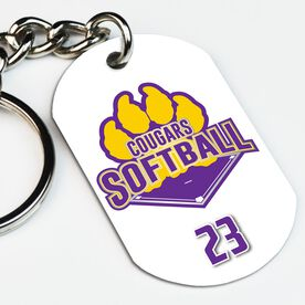 Softball Printed Dog Tag Keychain Custom Softball Logo with Team Number