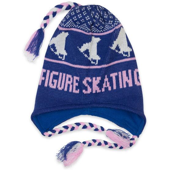 Fleece Lined Knit FIGURE SKATING Hat Blue/Pink