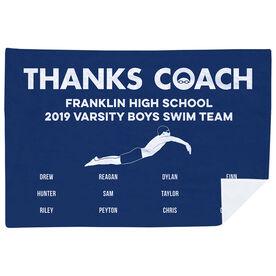 Swimming Premium Blanket - Thanks Coach Male (Horizontal)