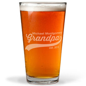 Personalized 16 oz. Beer Pint Glass - Rocking Being A Grandpa