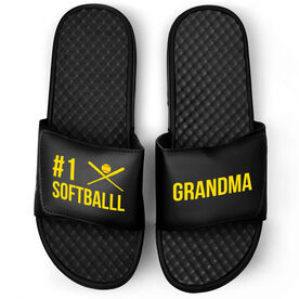 Softball Black Slide Sandals - #1 Softball Grandma