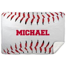 Baseball Sherpa Fleece Blanket - Personalized Stitches