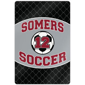"""Soccer 18"""" X 12"""" Aluminum Room Sign Personalized Soccer Team with Soccer Ball and Number"""