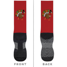Running Printed Mid-Calf Socks - Running Turkey