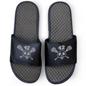 Lacrosse Navy Slide Sandals - Sticks & Skull with Number