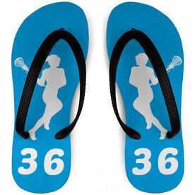 Girls Lacrosse Flip Flops Personalized Female Silhouette With Number