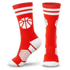 Basketball Woven Mid-Calf Socks - Ball (Red/White)