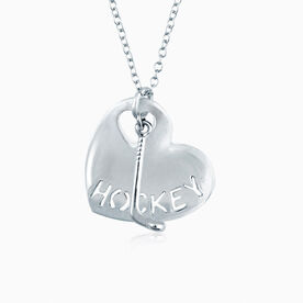 Sport Heart - HOCKEY With Stick Silver Necklace