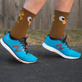 Printed Mid-Calf Socks - Goofy Turkey