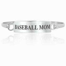 Baseball Engraved Clasp Bracelet - Mom (Text)