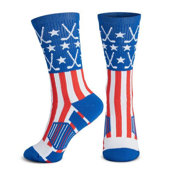 Hockey Woven Mid-Calf Socks - Patriotic (Red/White/Blue)