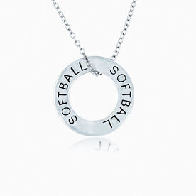 Softball Message Ring Necklace