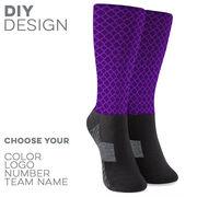 Printed Mid-Calf Socks - Quatrefoil Pattern