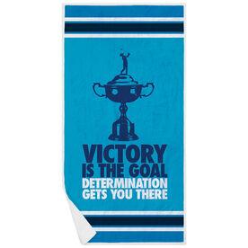 Golf Premium Beach Towel - Victory Is The Goal (Female)