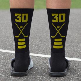 Hockey Printed Mid-Calf Socks - Hockey Stick Team Colors