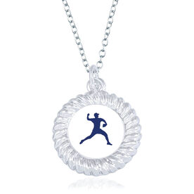 Baseball Braided Circle Necklace - Pitcher Silhouette
