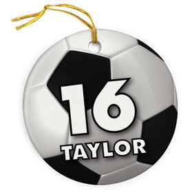 Soccer Porcelain Ornament Personalized Big Number with Soccer Ball