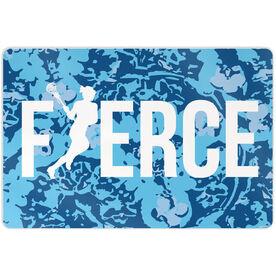 "Girls Lacrosse 18"" X 12"" Aluminum Room Sign Fierce"