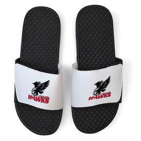 White Slide Sandal - Greater Lowell Hawks Hockey Logo
